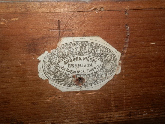 photo of an antique furniture label